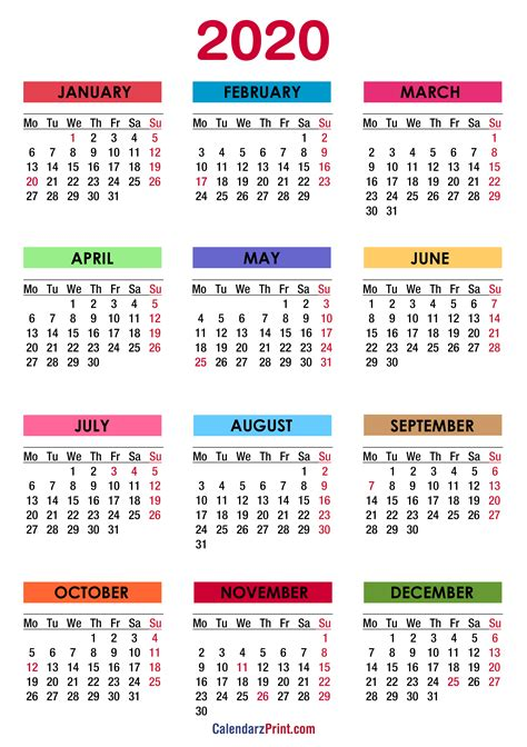 calendar  holidays printable  colorful monday start calendarzprint