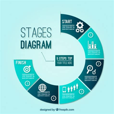 free diagram blue stages diagram vector free