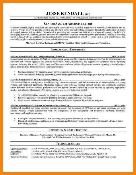 Netbackup Administrator Sle Resume by 7 System Administrator Resume Templates Apgar Score Chart