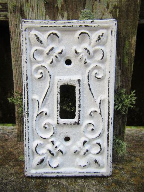 shabby chic light switch plate cover distressed white