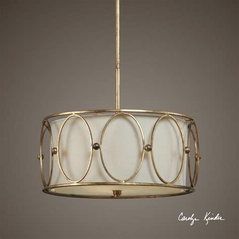 gold drum uttermost ovala 3 light gold drum pendant 21955