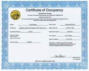 certificate of occupancy template the hallmark lodge at lake lure