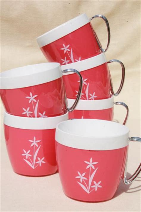 vintage thermo serv thermoware insulated plastic mugs