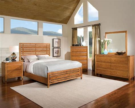 standard furniture slat bedroom set drake caramel st 94150