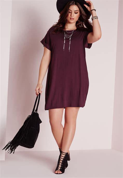 Size T Shirt lyst missguided plus size t shirt dress purple in purple
