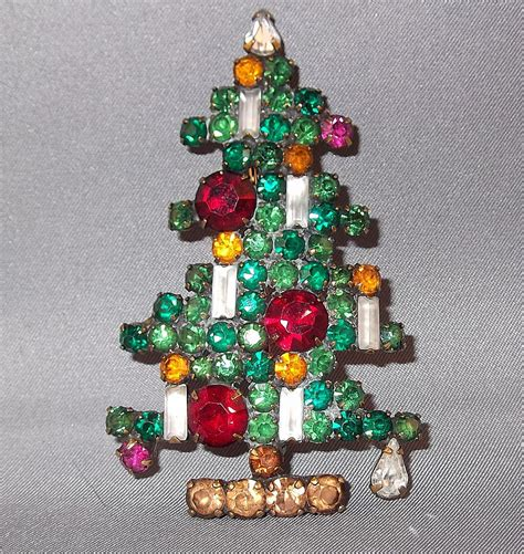 vintage weiss 6 candle christmas tree brooch from donnam