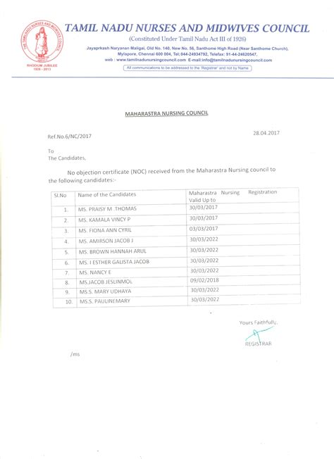 Confirmation Letter Of Ignou Tamil Nadu Nurses Midwives Council