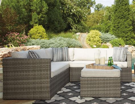 set with ottoman signature design by peckham park outdoor sectional