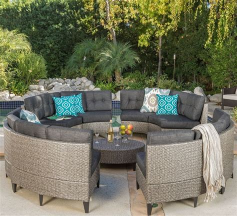 Circular Patio Furniture by Currituck Outdoor Wicker Patio Furniture 10 Black