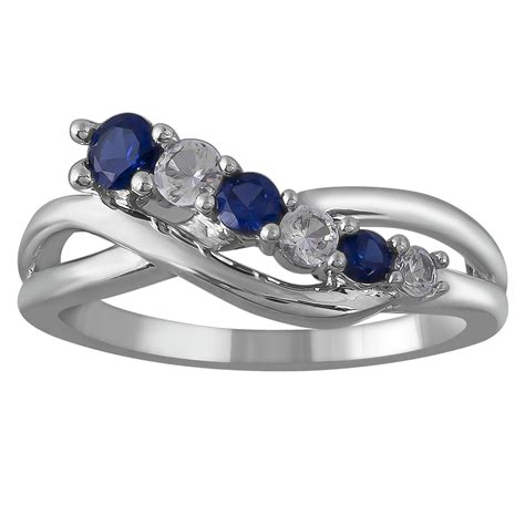 sterling silver blue and white sapphire ring size 7