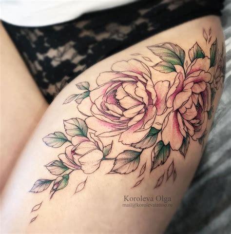 flower tattoo designs on thigh peonies thigh tattoos peonies pink