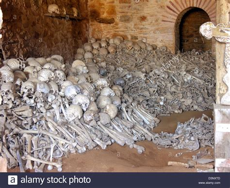 what is a charnel house the picture shows excarved skulls in the charnel house of the stock photo royalty