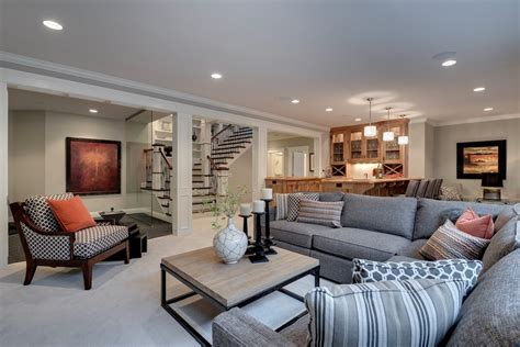 decorating ideas for a dark basement or family room basement home office family room traditional with gray