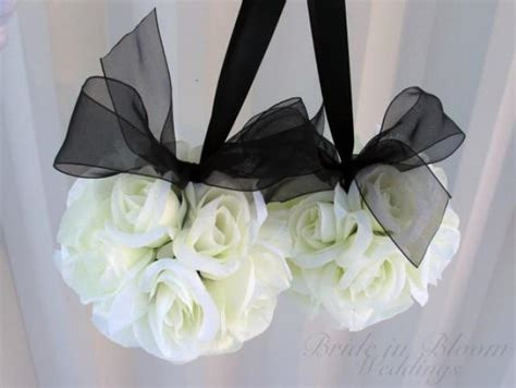 wedding aisle flower balls wedding flower balls pomander black white wedding