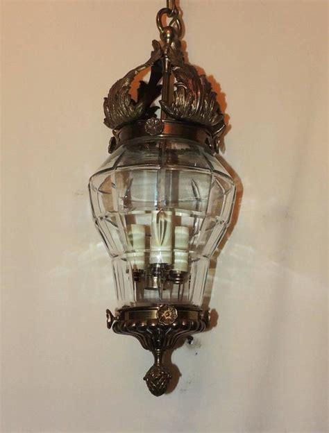 Glass Panel Chandelier Wonderful Bronze Filigree Beveled Panel Glass Lantern Chandelier Fixture For Sale At 1stdibs