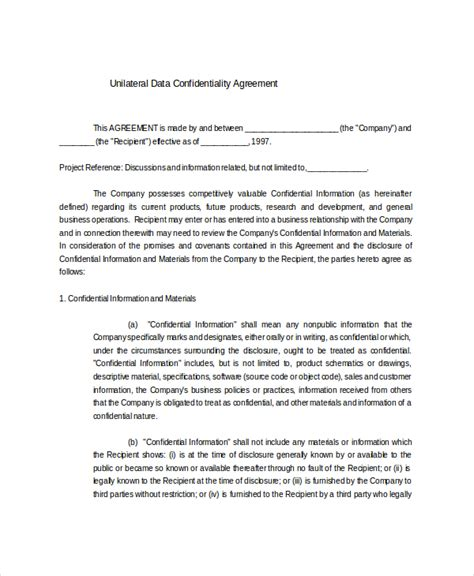 unilateral non disclosure agreement template 12 data confidentiality agreement templates free sle
