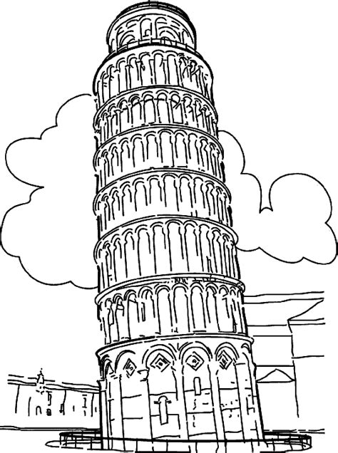 Coloring Picture Of Leaning Tower Of Pisa Around The Leaning Tower Of Pisa Coloring Page