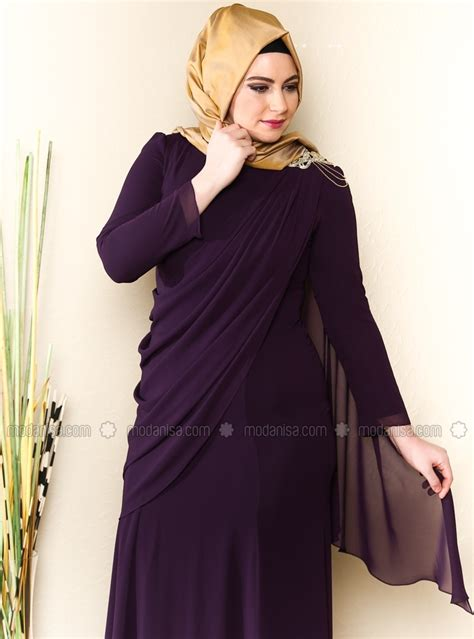 Mainaka Tunik Big Size cocktail dress purple muslim plus size evening dresses modanisa