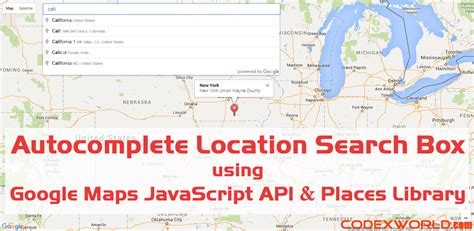 Search Address Maps Api Autocomplete Places Search Box Using Maps Javascript Api Codexworld