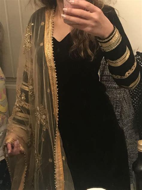 black punjabisuit golden dupatta punjabi suits party