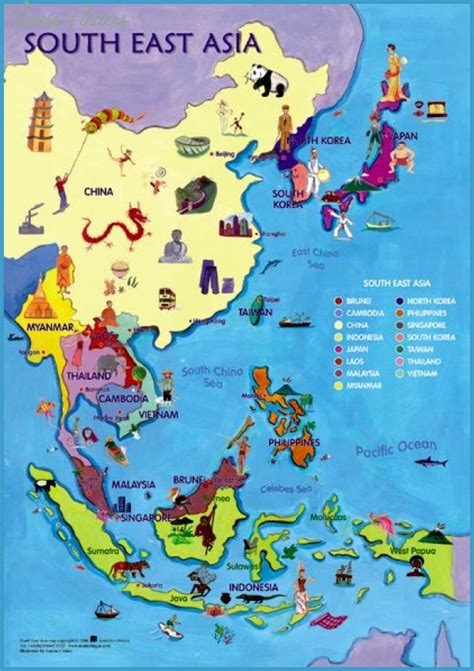 map of east and south asia southeast asia travel guide map travelsfinders