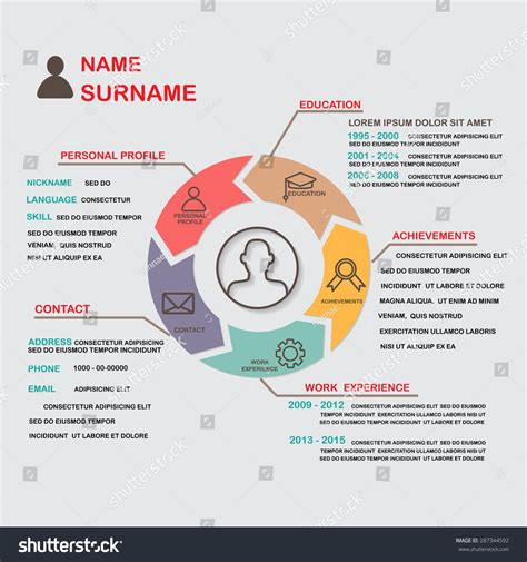 Resume Cv Template Infographics Background Element Stock Vector 287344592 Shutterstock Career Infographic Template
