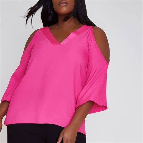 Shoulder Tank Blouse Pink plus bright pink cold shoulder blouse tops sale