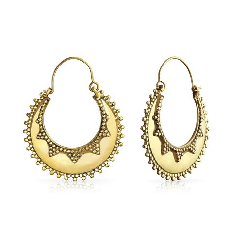 indian style gold plated bali hoop earrings