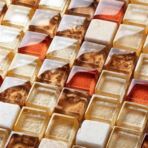 Buy Kitchen Backsplash Orange Art Mosaic Square Crystal Glass Mixed Stone Mosaic