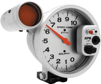 Tachometer Sport Comp 2 5 Shift L Auto Meter auto meter silver5 quot 10000 rpm sport comp tach w shift light automotive performance products