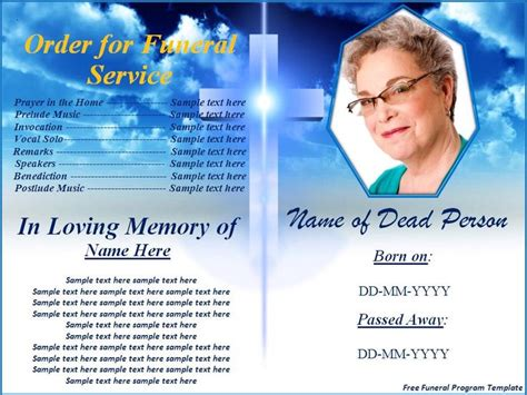 funeral program card template free free funeral program templates button to