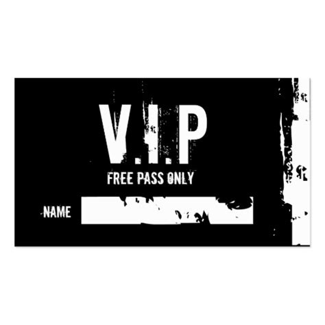 v i p i i free pass only name business card zazzle