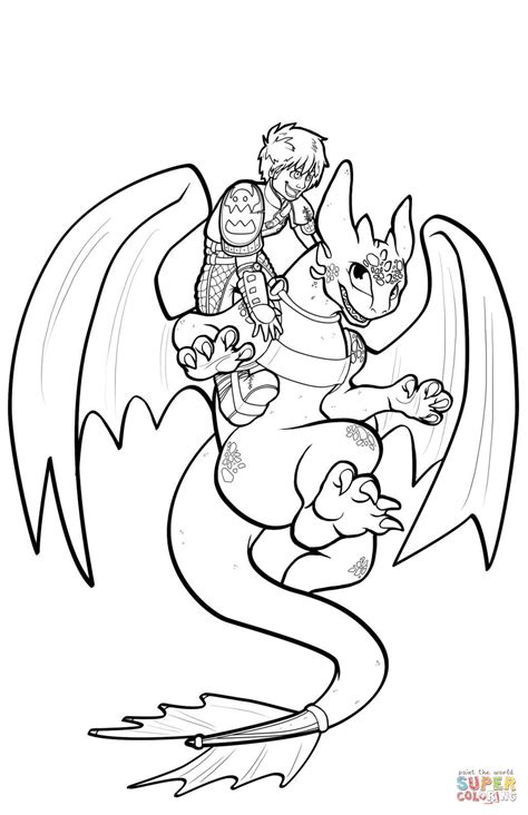 Hiccup And Toothless Flying coloring page | Free Printable