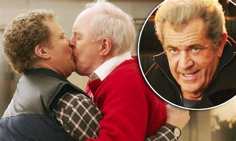 mel gibson locks lips with 24 year old girlfriend rosalind ross in will ferrell and john lithgow lock lips in daddy s home 2