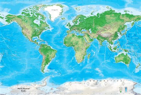 map world world map wall mural detailed physical