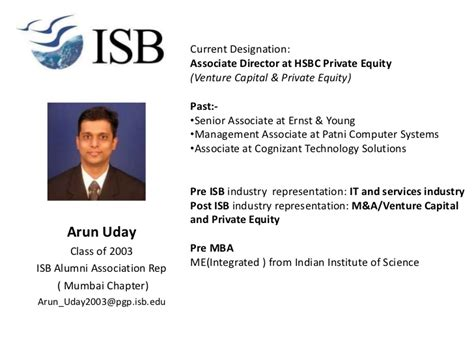 Isb Mba Class Profile by More Alums Added To The Presentation