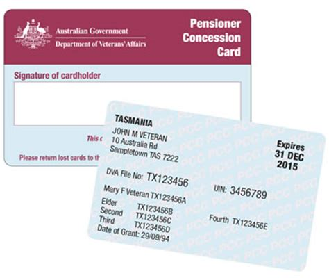 concession card template pensioner concession information for providers