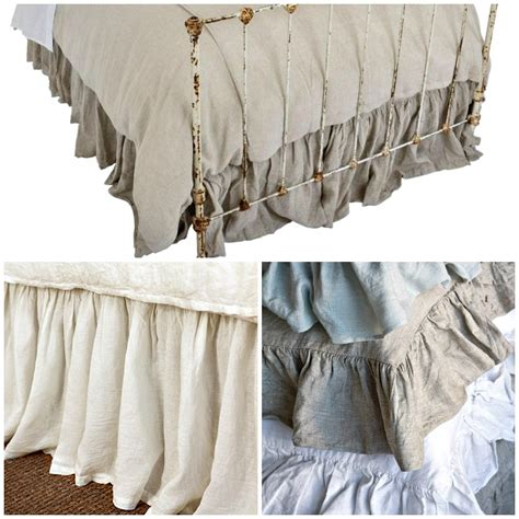 linen bed skirts organic linen gathered dust ruffle bed skirt