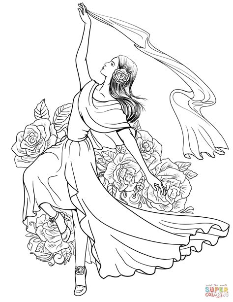 colouring pages spanish dancer spanish woman dancing flamenco coloring page free