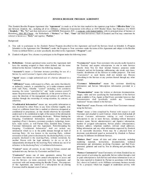 resale agreement template zendesk reseller agreement worldwide template dec 1 14 3