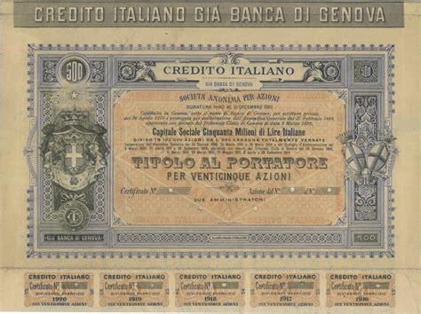 unicredit sede genova credito italiano di genova titolo finanziario
