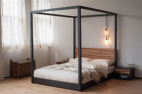 modern four poster bed zebrano cube four poster bed contemporary four poster