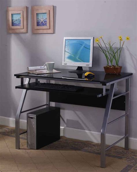 Black Metal And Glass Computer Desk 2950 Series Brand Glass Metal Home Office Computer Workstation Desk Table
