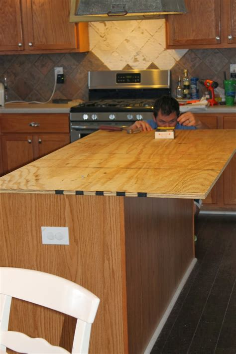 diy wood kitchen island countertop install new plywood base for faux reclaimed wood