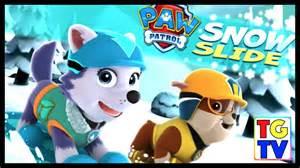 Paw patrol snow slide nick jr games youtube