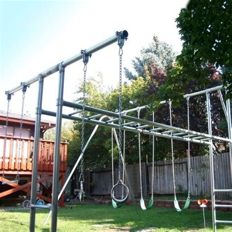 pipe swing set contemporary swing set steel pipes garden ideas