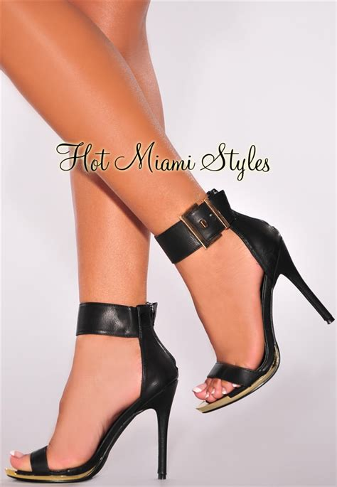 Faux Leather High Heel Sandals black faux leather gold ankle high heel sandals