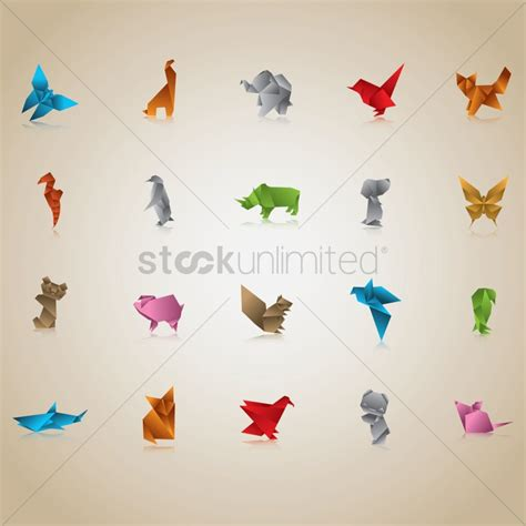 Origami Paper Animals - free coloring pages free set of origami animals and birds