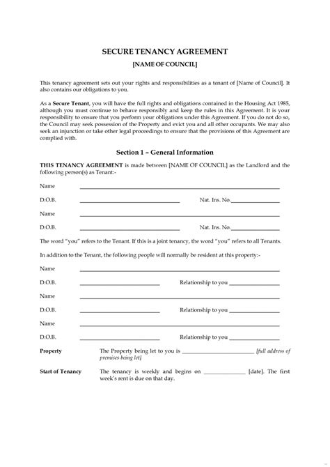 lease agreement format tenancy agreement templates in word format excel template