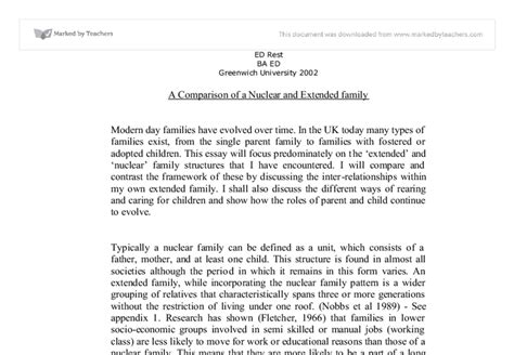 Nuclear Family Essay by A Comparison Of A Nuclear And Extended Family Social Studies Marked By Teachers